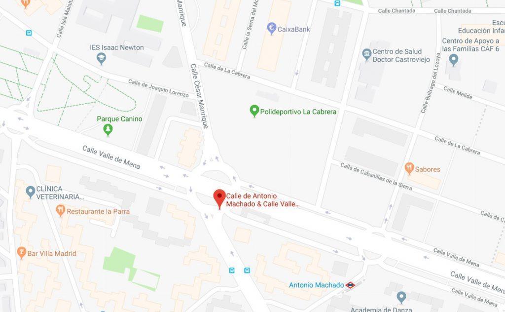 mapa con la situación de la glorieta Doctor Luis Montes Mieza