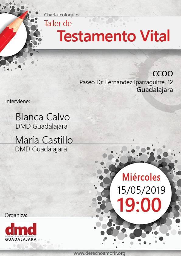 Cartel taller de testamento vital de Guadalajara el 15 de mayo de 2019