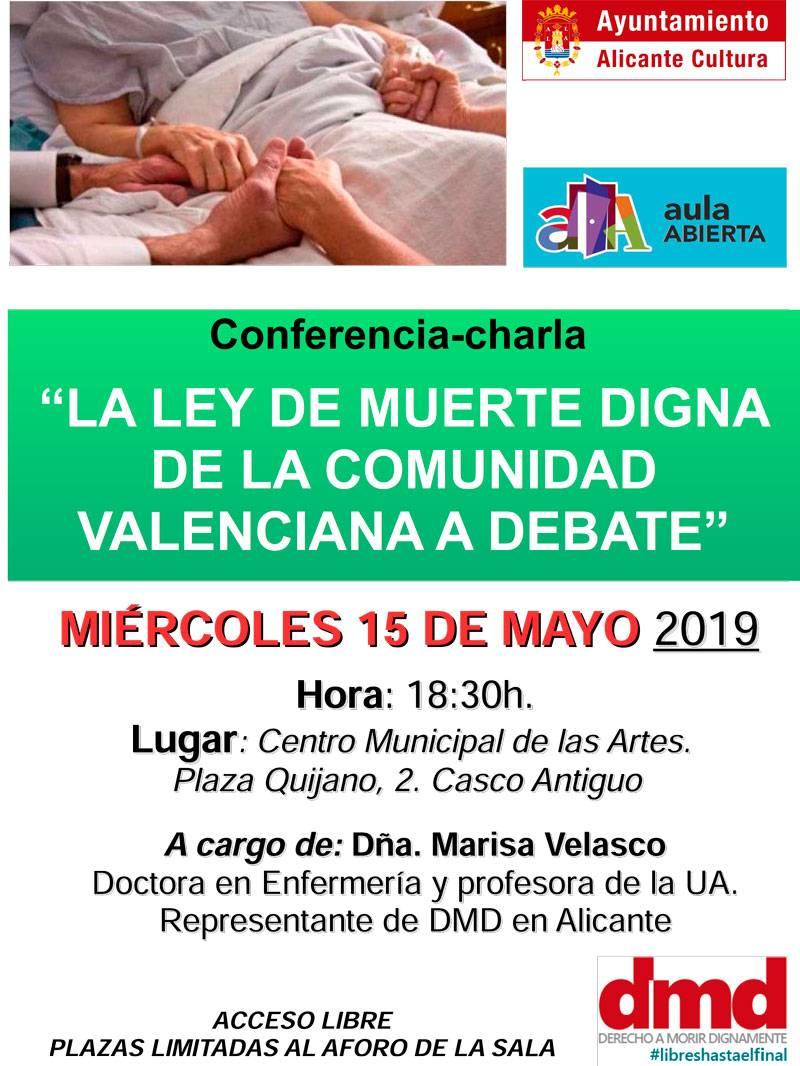 Cartel acto muerte digna Comunidad Valenciana en Alicante