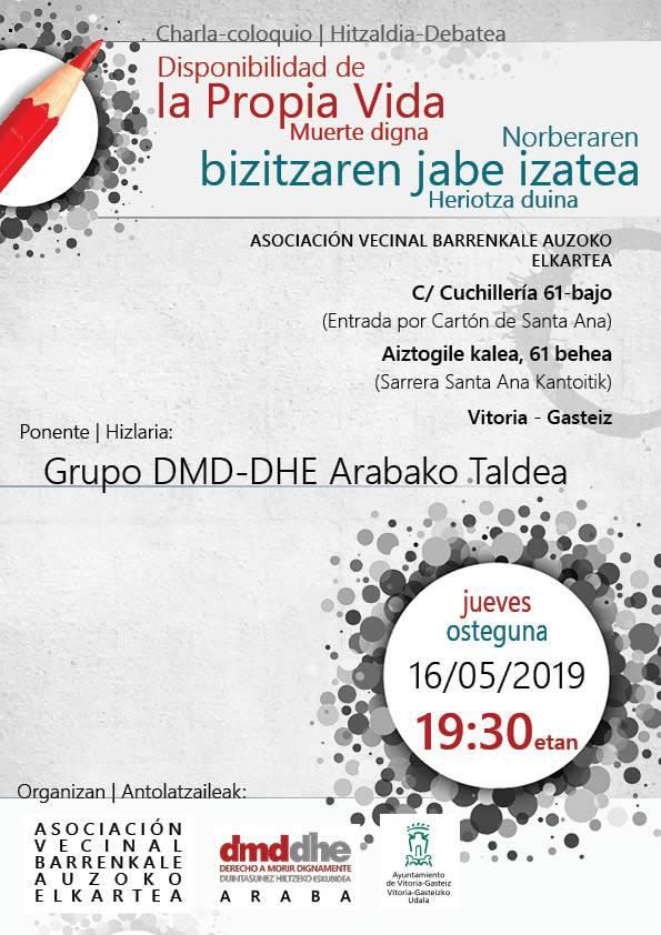 Cartel del acto sobre libre disposición de la propia vida en Vitoria-Gasteiz