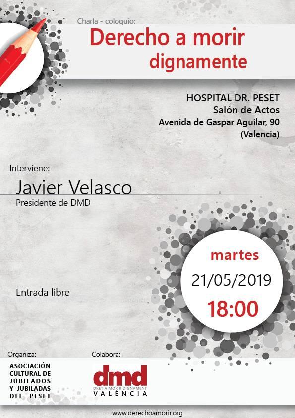 Cartel de la charla de DMD Valencia en la Asociación Cultural de Jubilados y Jubiladas del Peset