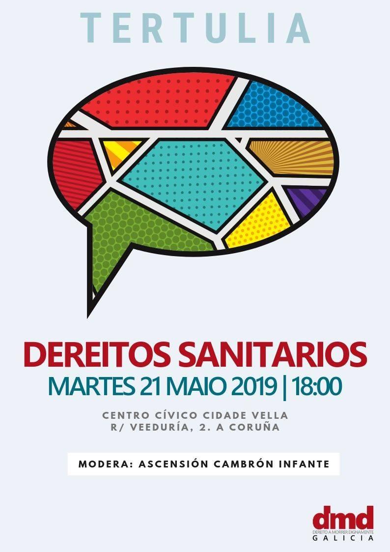 Cartel de la tertulia sobre derechos sanitarios en a Coruña