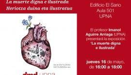 Cartel presentación exposición Muerte digna ilustrada en Pamplona el 16 de mayo