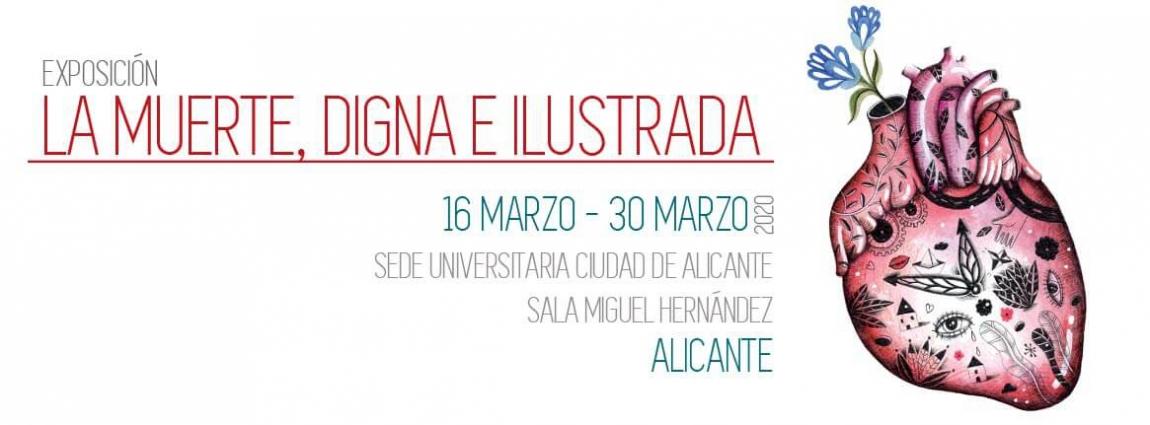 Cartel de la exposición 'La muerte, digna e ilustrada', del 16 al 30 de marzo en Alicante