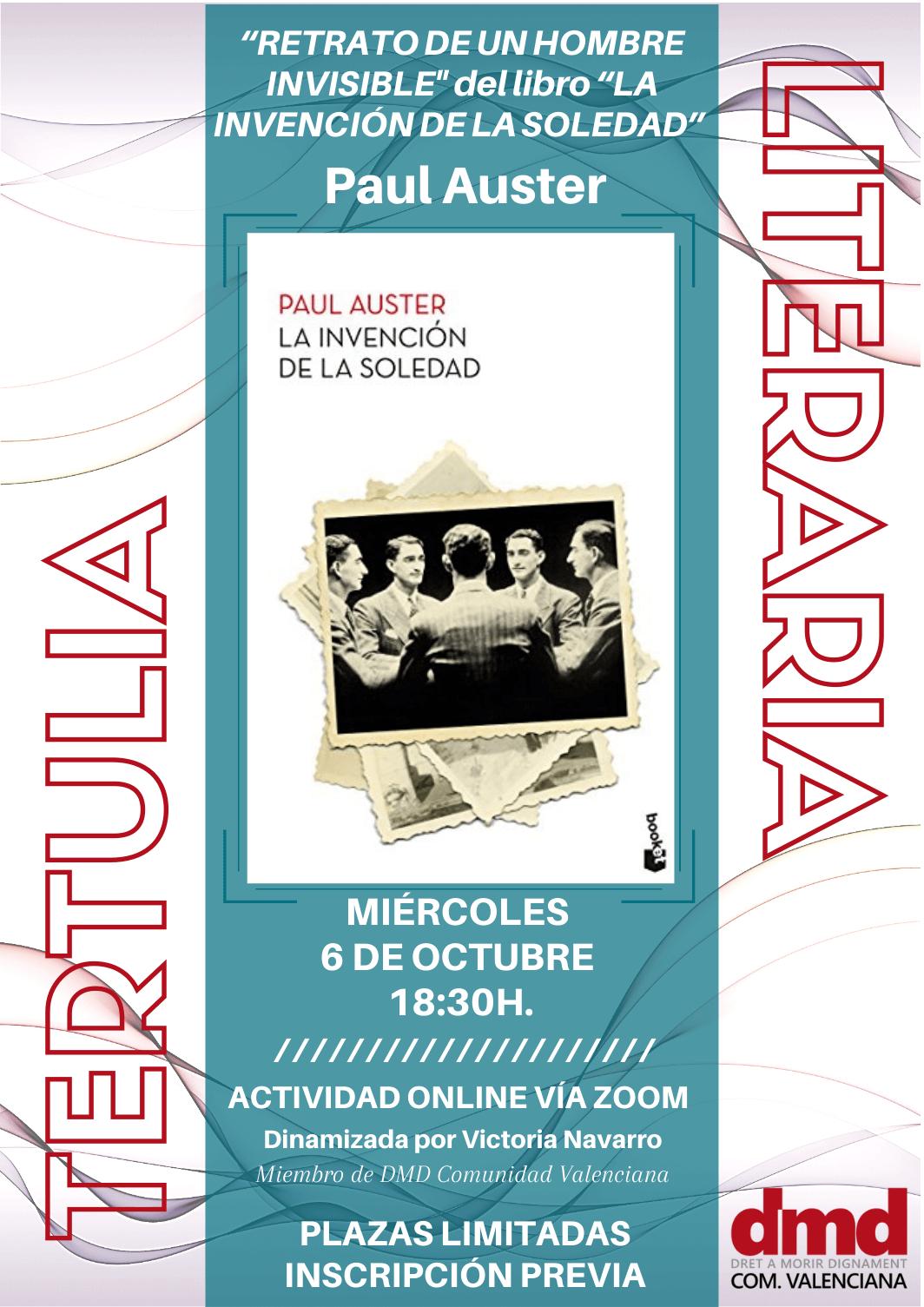 Cartel de la tertulia literaria de DMD Valencia el 6 de octubre de 2021